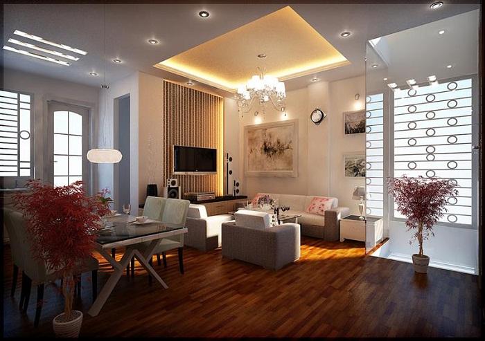 В открытой планировке комнаты люстра отыграет ключевую роль преобразив интерьер маленькой гостиной.