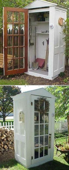 Своими руками возможно соорудить шкаф для хранения инвентаря для сада и огорода.