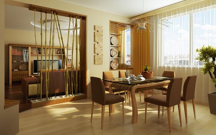 Декорировать столовую стоит при помощи простых методов, например, обоями.