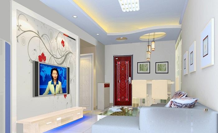 Красивый и светлый многоуровневый потолок, который создаст легкую и интересную обстановку в интерьере.