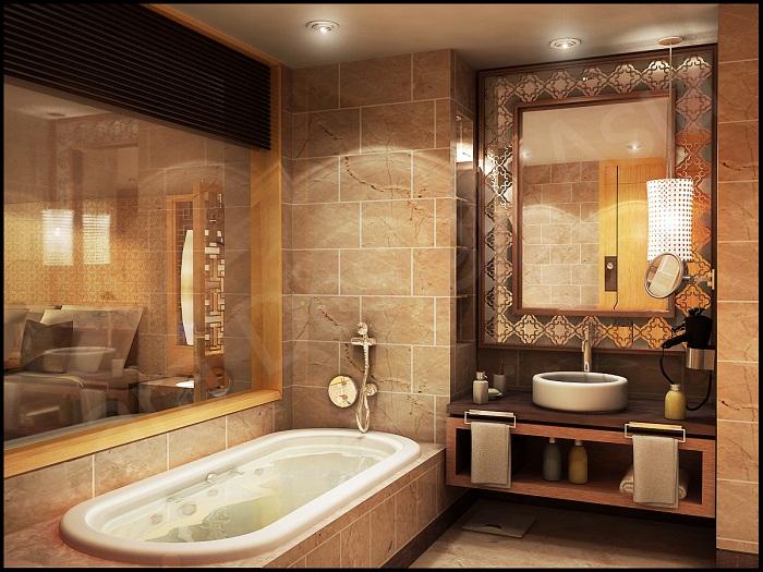 Сказочный декор ванной комнаты создан при помощи сливочных тонов, что служат основой.