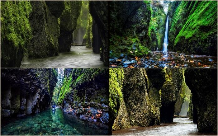 На границе между штатом Орегон и Вашингтон, в ущелье Онеонта есть красивый кусочек древней геологии популярного туристического назначения - ущелье реки Колумбия.