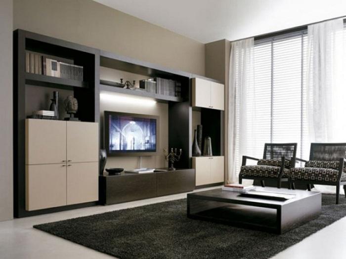 Контрастное цветовое решение придаёт интерьеру гостиной строгость.