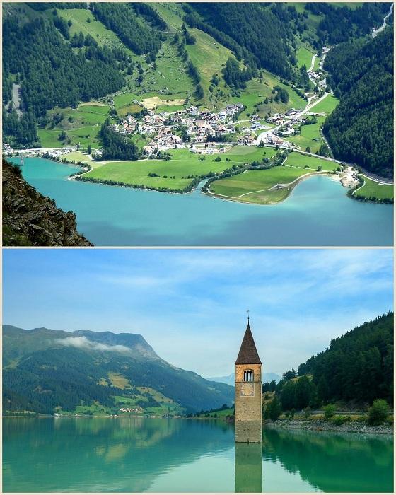 Озеро Решензее, расположенное в Южном Тироле на севере Италии знаменито благодаря затопленной церковной колокольни.