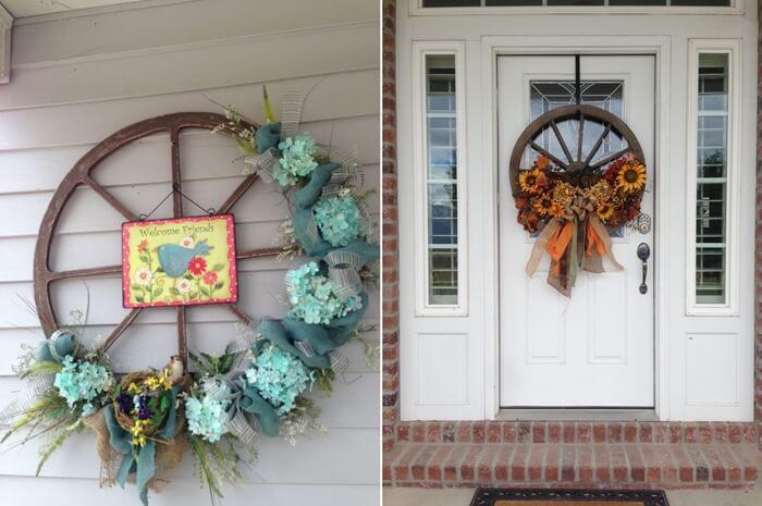 Возможно соорудить своими руками венок из колеса, для того чтобы украсить входную дверь дома.