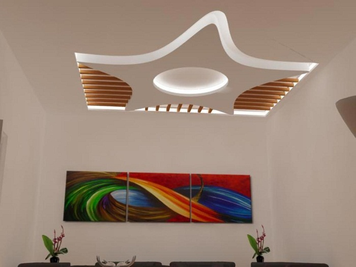 Прекрасный вариант оформления потолка нестандартной формы в виде звезды, то что понравится и создаст интересное настроение.