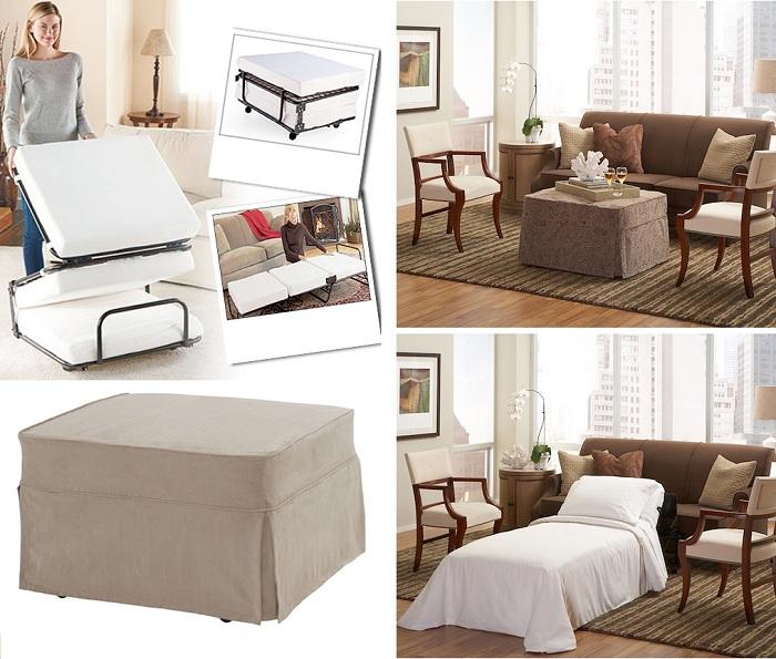 Отличный вариант поставить в гостиной стол, который легко может превратиться в кровать, что очень удобно для приема гостей.