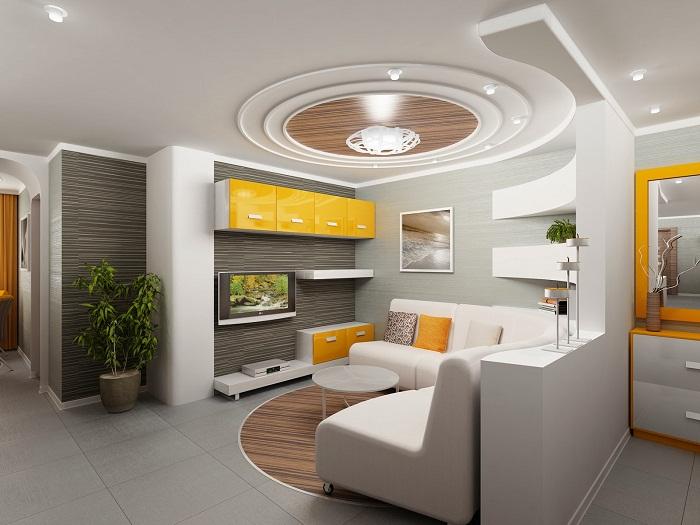 Просто невероятный интерьер комнаты в светлых тонах, который создан благодаря такому интересному и необычному потолку.