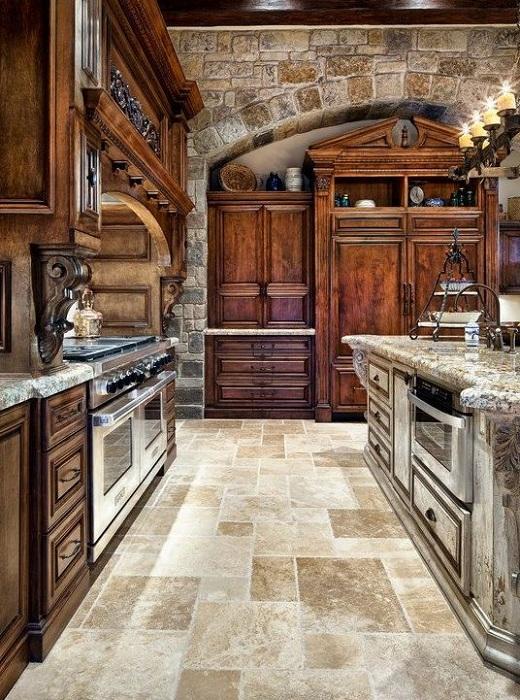 Отличный вариант для оформления кухни в аристократическом стиле, порадует глаз.