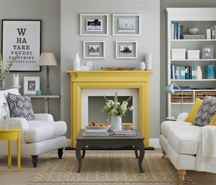 Прекрасный вариант создать уютную обстановку в гостиной благодаря серо-желтой цветовой гамме, что впечатлит однозначно.