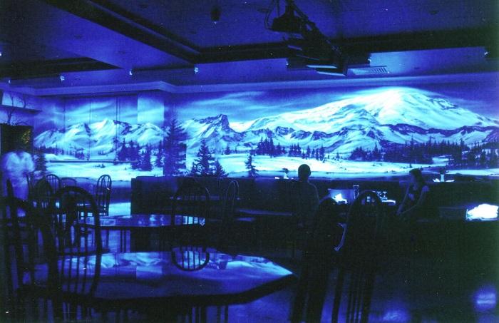 Симпатичные снежные вершины украшают стену помещения - выглядит очень красиво.