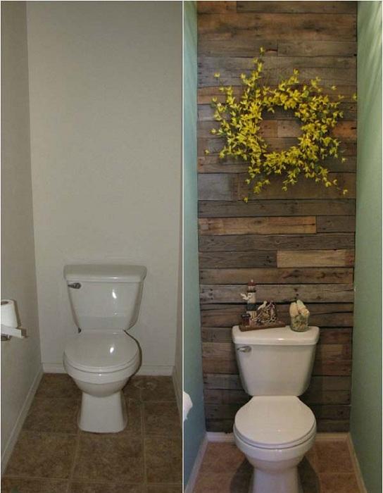 Симпатичный элемент в дизайне ванной комнате- одна деревянная стена.