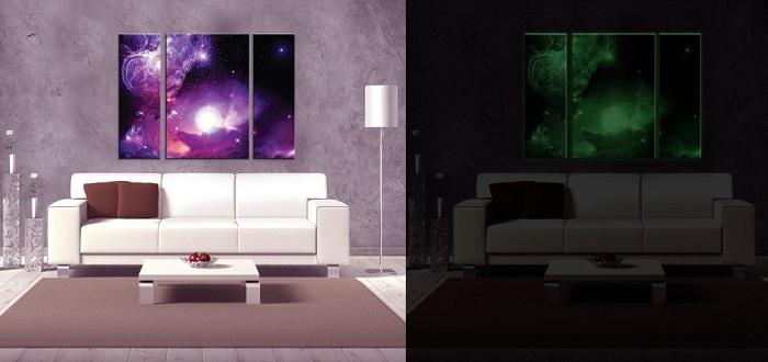 Уникальные флюоресцентные картины - создают просто очень красивую атмосферу и вдыхают новую жизнь в интерьер.