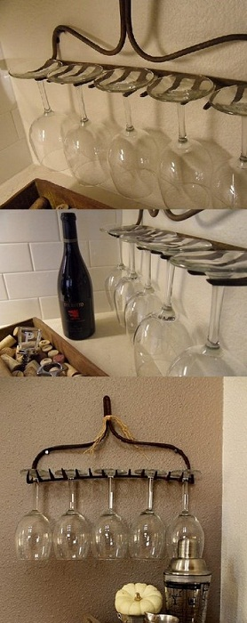 Хорошее решение создать оптимальную обстановку на кухне с помощью оригинального размещения бокалов.