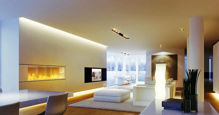 Лучшее решение оформить гостиную оригинальным освещением.