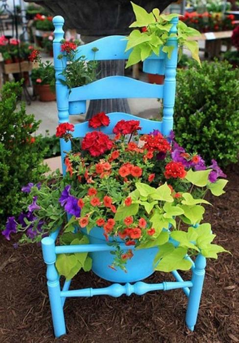 Горшок для цветов создан в виде старинного стула - просто и симпатично.