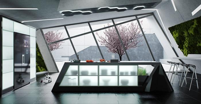 Нестандартный дизайн современной кухни с большим прекрасным окном.