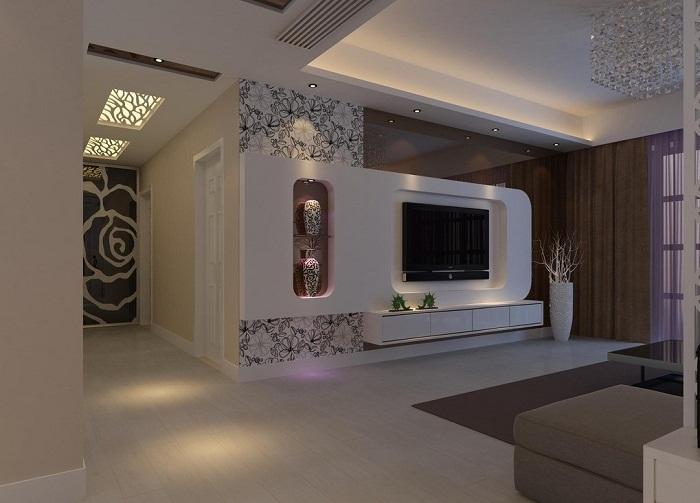 Интересное оформление потолка в белом цвете, который украшен красивой подсветкой.
