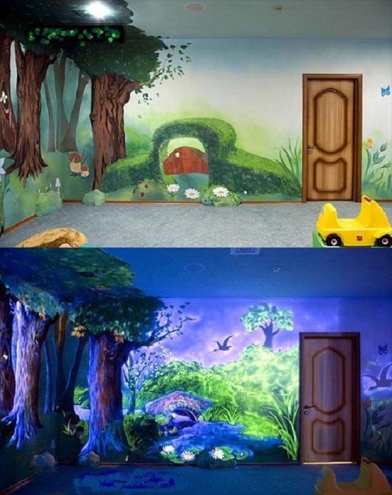 Интересная лужайка станет самым лучшим украшением детской комнаты.