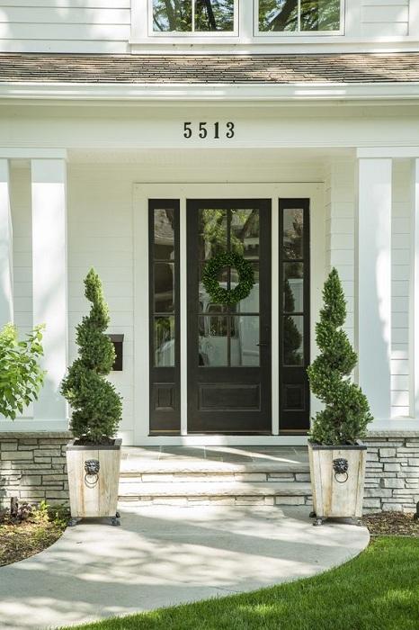 Один из самых лучших вариантов - это украшение парадного входа симметричными элементами декора, например, одинаковыми растениями.