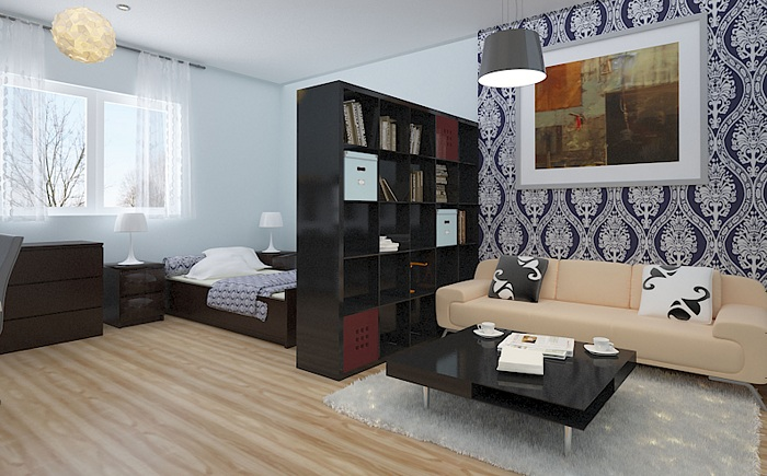 Хороший приклад перетворення і поділу простору в кімнаті, що оптимізує інтер'єр.