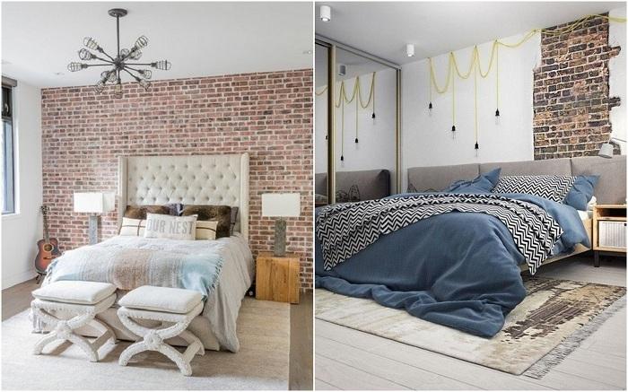 Оформление спальни в промышленном стиле.