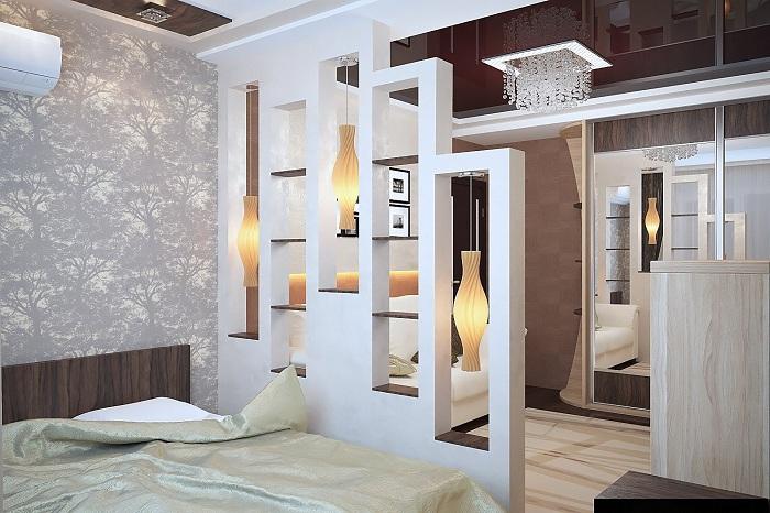 Хороший приклад відмінного зонування простору в кімнаті.