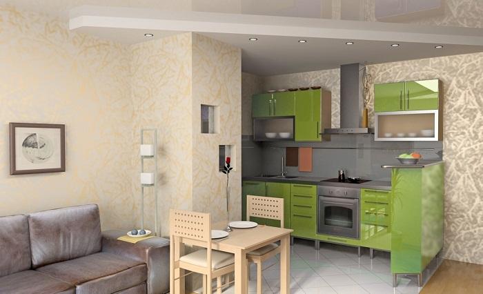 Вариант создать удачное соседство между кухней и гостиной.