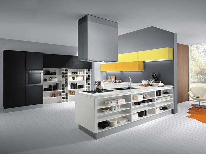 Современная кухня оформлена в стиле модерн в серых тонах с желтыми вставками.