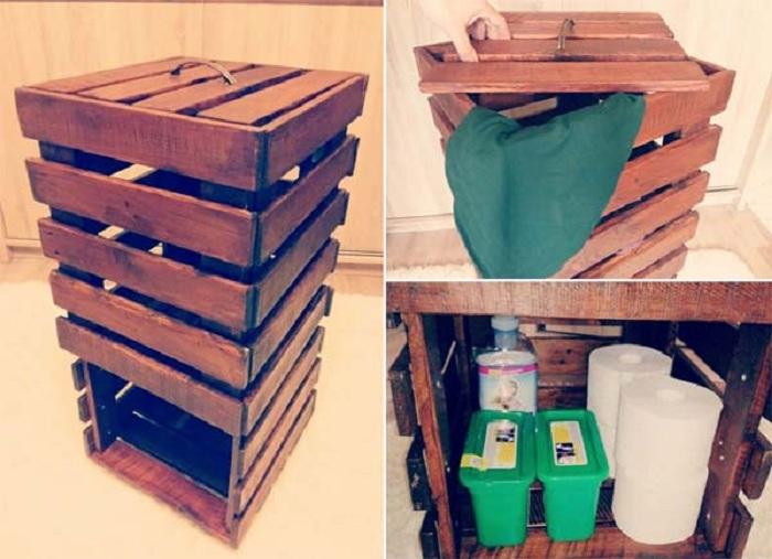 Интересный деревянный блок для хранения вещей сооружен с европоддона.