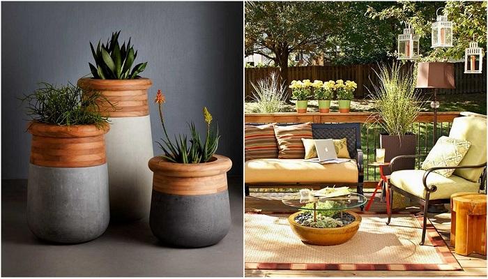Прекрасные варианты украшения сада очень красивыми кашпо.