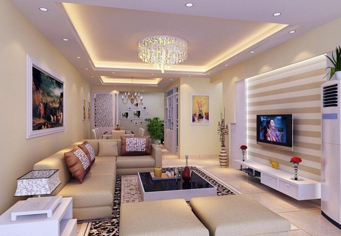 Красивое оформление комнаты в белом цвете с применением яркой и интересной подсветки с желтым оттенком.
