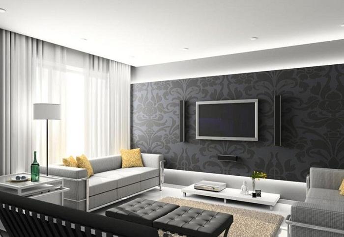 Эффектный вариант создать акцентную стену в маленькой и уютной гостиной.