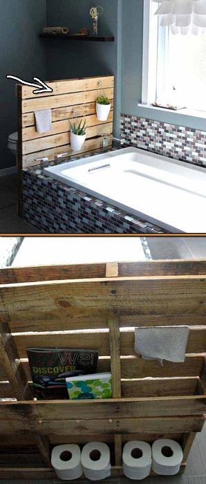 Прекрасный вариант для ванной комнаты разместить пару горшков с цветами и создать укромное место для хранения вещей.