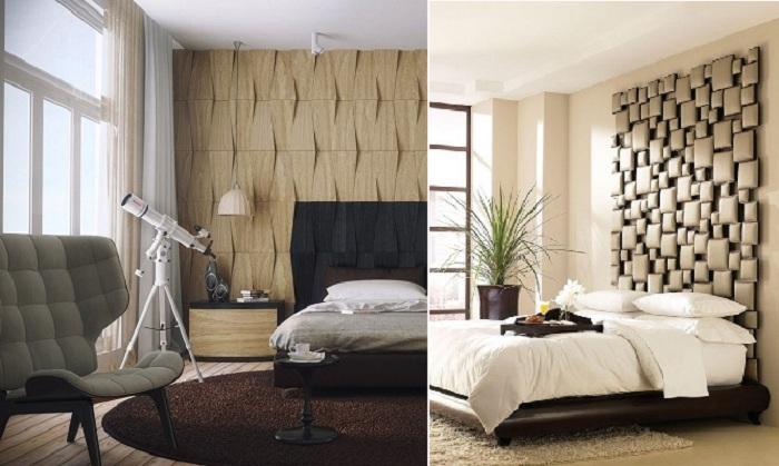 Интересное оформление интерьера спальни.