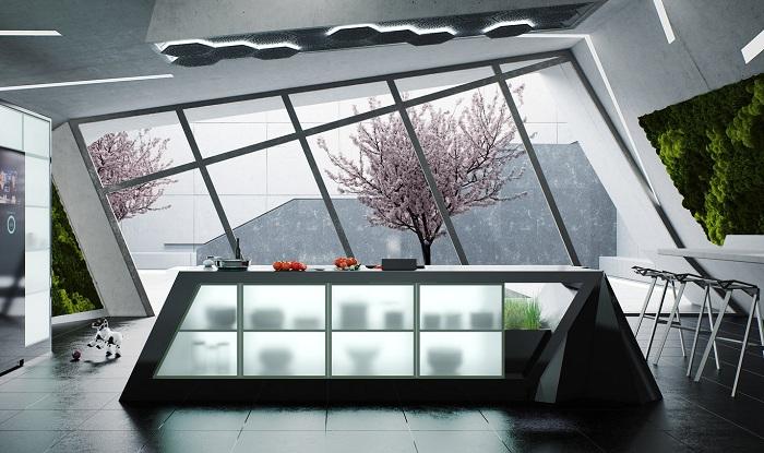 Прекрасный дизайн современной кухни с необыкновенным окном.