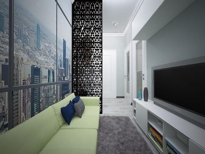 Цікавий приклад оптимізації інтер'єру завдяки зонуванню простору, що однозначно сподобається.