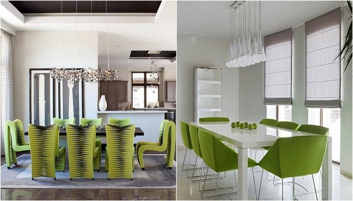Идеи для оформления современных обеденных зон с зелеными стульями.