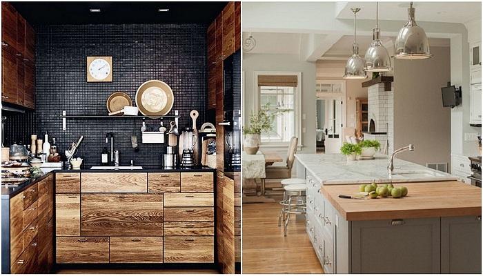 Красивые варианты дизайна деревянной кухни.