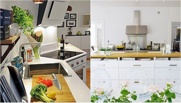 Оформление кухонь в белых тонах, что создадут легкую и непринужденную атмосферу.
