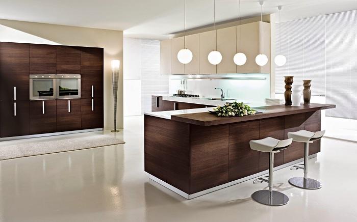 Современная кухня в стиле модернизм с деревянной темной мебелью.