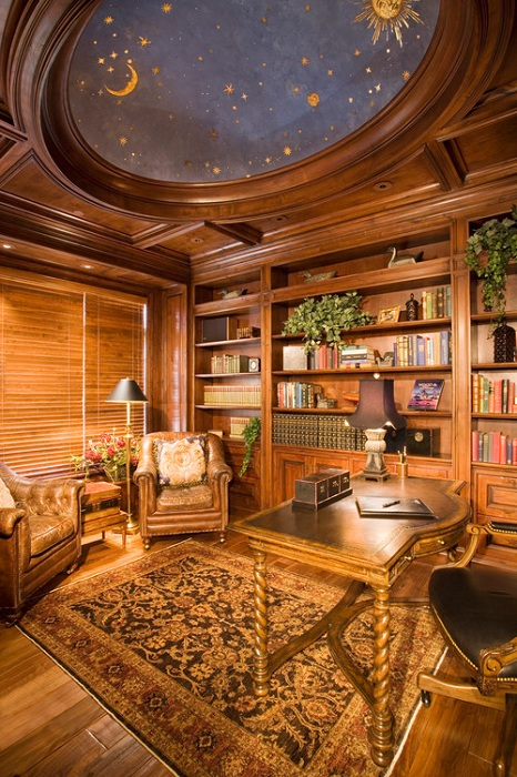 Звездное небо на потолке - красивое и креативное решение для обустройства домашнего офиса.