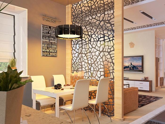 Перегородка между гостиной и столовой оптимизирует пространство.