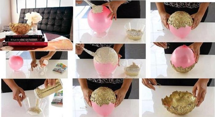 Симпатичный вариант создания золотистой вазы, что точно преобразит любой интерьер.