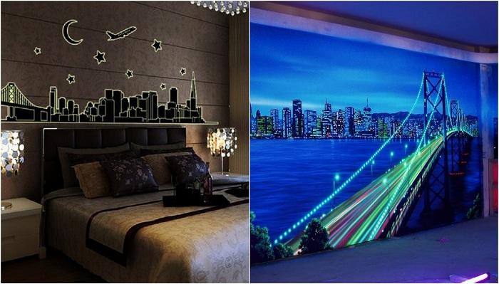 Примеры оформления комнат яркими светящимися красками.