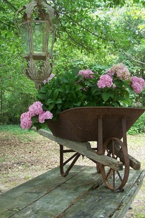Просто самый лучший вариант создать кашпо из подручных материалов, например, с ненужной тачки для сада.