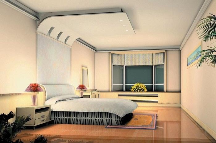 Оригинальное оформление спальни с интересным потолком в сливочных тонах, то что точно понравится и украсит интерьер.