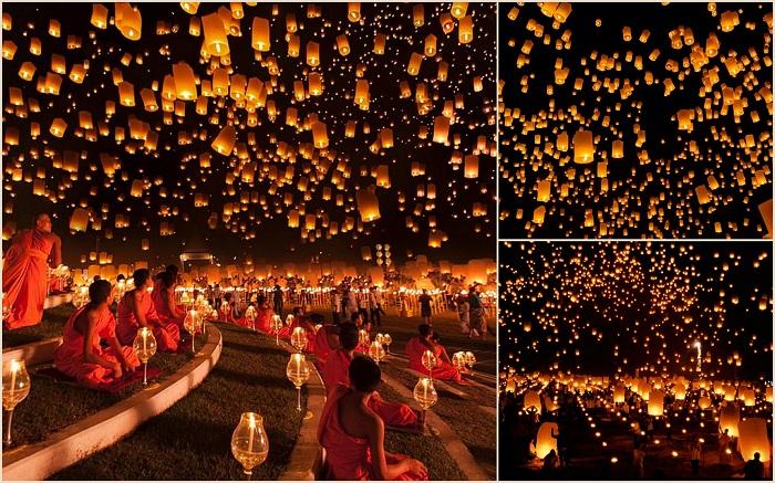 Ежегодно, каждый ноябрь в Таиланде проходит необычное и очень красивое мероприятие. В честь праздника Йи Пенг в городе Чиангмай в небо запускается огромное количество небесных фонариков. Это смотрится просто потрясающе — тысячи ярких огней медленно уплывают в темное небо.