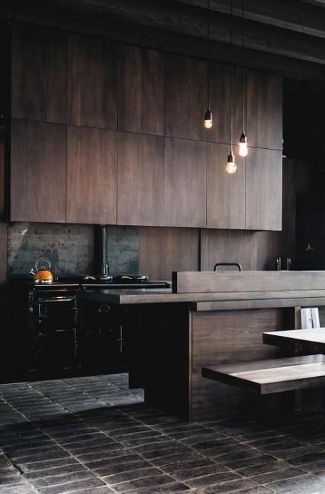 Одно из самых оптимальных решений для оформления кухни в очень сдержанном и строгом стиле.