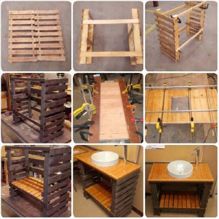 Практичная и удобная раковина для удачного расположения раковины создана из поддонов.